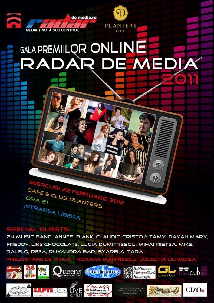 GALA PREMIILOR ONLINE RADAR DE MEDIA - afis (editia din 2012)